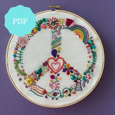 Peaceful Whimsy a modern hand embroidery pattern Embroidery Sampler, Modern Embroidery, Hand Embroidery Patterns, Embroidery Fashion, Embroidery Stitches, Cross Stitches, Simple Embroidery Designs, Embroidery Online, Cute Embroidery