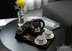 Luxury Tea Set-  Comprised of three pieces in solid walnut.