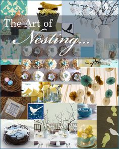 Nesting Baby Shower Bridal Shower, Blue, Birds, Nests Inspiration Board, Teal, Turquoise, Green