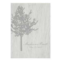 Rustic Tree Bark Wedding Announcement