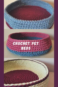 Cat caves, small dog bedd, toy storage baskets Crochet Pet, Crochet Animals, Toy Storage Baskets, Cat Cave, Or Mat, Recycled Yarn, T Shirt Yarn, Pet Beds, Caves