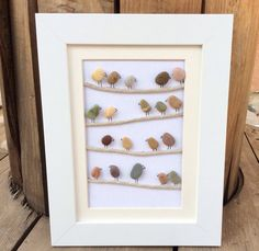 Birds On A Wire: Beach Pebble Picture in White Frame/Wall Art/Stone Art, Pebble Art, Gift Idea