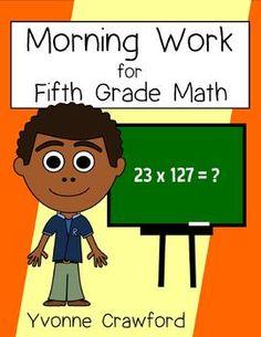 Morning Work Fifth Grade Math Common Core $