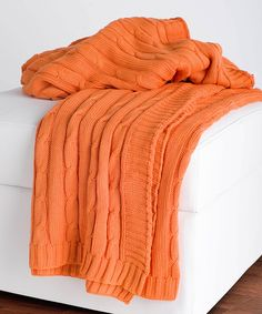 Orange Cable-Knit Throw