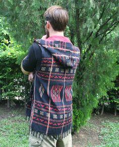 Mens Hooded Vest With Fringe In Authentic Tribal Naga, Hoodie, Waist Coat - Derek