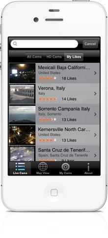 You can search and watch live public HD-webcams from all over the world in World Live Cams app for iPhone, iPad, Android, Windows Phone smartphones and tablets  http://livecams.vinternete.com