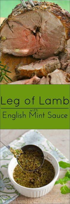 Healthy Recipes : Leg of lamb with English Mint Sauce. Supper Recipes, Lamb Recipes, Sauce Recipes, Seafood Recipes, Veal Recipes, Mint Recipes, Best Gluten Free Recipes, Paleo Recipes, Cooking Recipes