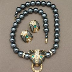 Panther Necklace Earrings Set Vintage KJL Kenneth Jay Lane for Avon | eBay