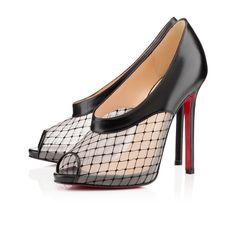 Christian Louboutin Womens Resillana 120mm Black Dentelle Leather Platforms