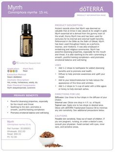 doTERRA Myrrh Essential Oil Uses Including Diffuser Blend Recipes Myrrh Essential Oil Uses Digestzen Essential Oil, Doterra Myrrh, Doterra Tea Tree, Essential Oils 101, Sandalwood Essential Oil, Essential Oil Blends, Doterra Digestzen, Vetiver Oil, Frankincense Oil