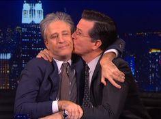 Stephen Colbert Questions Jon Stewart's Patriotism on The Colbert Report—Watch the Video!  Jon Stewart, Stephen Colbert