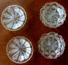 4 Vintage 2 Sets of 2 Individual Clear Pressed Glass Butter Pat Dishes | eBay
