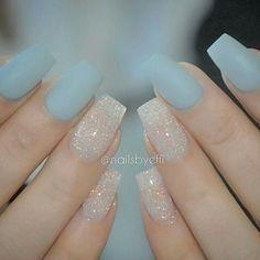 Blue, sparkles #naildesign