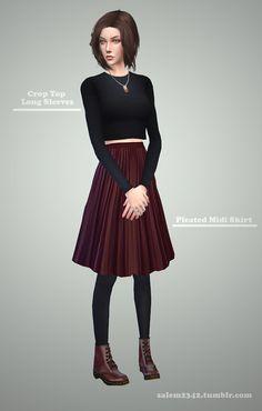Crop top + Pleated mini skirt at Salem2342 via Sims 4 Updates