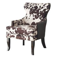 Rustic Classic Modern Faux Leather Cow Animal Print Accent Arm Club Chair   new #Rustic
