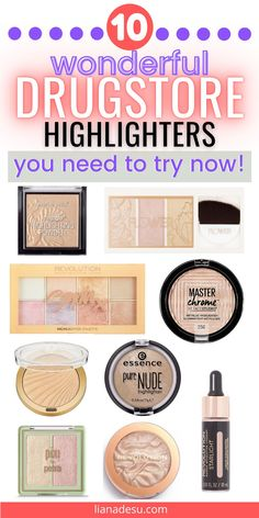 The very best drugstore highlighters to glow! Get the perfect glow on a budget with these 10 affordable drugstore highlighters - from a subtle glow to a blinding glow. These drugstore highlighters are must haves in your makeup collection! #drugstore #makeup #highlighter Drugstore Makeup Brands, Drugstore Highlighter, Best Makeup Products, Beauty Products, Drugstore Foundation, Beauty Tips, Best Drug Store Highlighter, Bronzer, Makeup Products