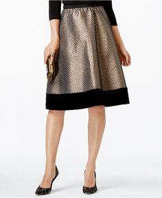 NY Collection Velvet-Trim Metallic Flare Skirt - Skirts - Women - Macy's