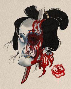 "Here's a slightly more colourful version ""You'll take your eye out"" @stevestontattoocompany #japanese #japanesetattoo #asian #asiantattoo #tattoo #tattooart #namakubi #severedhead #samurai #sword #dead #digital #digitalart #concept #art #artofinstagram #instaart #richmond #bc #steveston #vancouver #vancity #jb #jbtattoo"