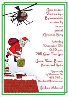 Custom designed christmas party invitations eat by marcylauren santa invitations wordings for christmas parties at invitationsbyu stopboris Gallery