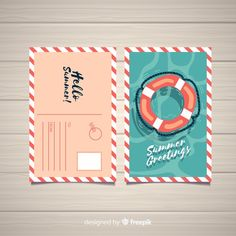 Download Flat Summer Holiday Postcard for free