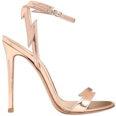 GIANVITO ROSSI 100mm Metallic Leather Sandals - Rose Gold ($491) ❤ liked on Polyvore featuring shoes, sandals, heels, high heels, scarpe, rose gold, rose gold sandals, leather sandals, metallic sandals and strap heel sandals