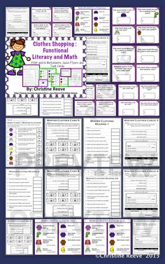 Have students working on life skills? Check out this winter clothing sale flyers set of activities for money, functional literacy, check writing, cash, and debit card use set up at different levels for different levels of skills. $4