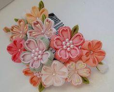 Colorful Cherry blossom made of Chirimen,Kimono fabric