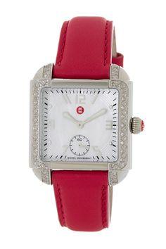 Milou Diamond Leather Strap Watch by Michele on @HauteLook