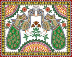 Pair of Peacock digitally painted in the style of Mithila / Madhubani Painting - Symbol : Love  -  Artist: Nupur Nishith