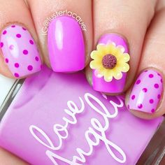 Pink on Pink Dot Nails with Flower Charm