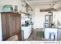 Like: hanging lights, metal stools, sit up bar, metal pipes on ceiling. White cabinets are ok if other industrial things are incorporated, like large tall pantry next to refrigerator, stainelss appliances  Do not like dark wooden cupboard pantry