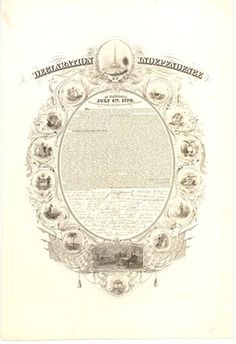 Text of Declaration, with signatures, within oval frame decorated with emblematic representation of the 13 States, Washington monument at top and scene of Declaration ceremony in Congress below.  1856  Engraving