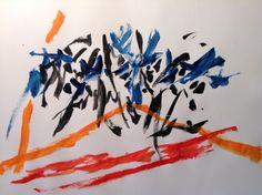 Pájaros azules. Acrílico sobre papel. Jesus de Juan, 2015.