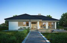 Projekt domu Julia 123,7 m2 - koszt budowy 239 tys. zł - EXTRADOM Outdoor Rooms, Outdoor Decor, Home Fashion, House Plans, Garage Doors, Floor Plans, Flooring, House Styles, Home Decor