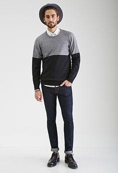 Colorblocked Crew Neck Sweater | 21 MEN - 2000137408 gimme in a xs for my woman body puleaze