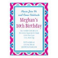Teal Hot Pink Circles Birthday Party Invitations