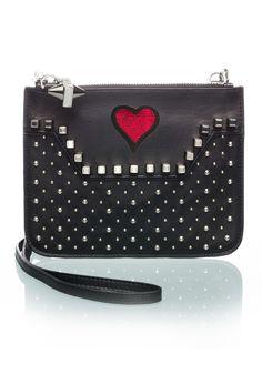 Custom Studded Black Crossbody Heart-OPTION ONE