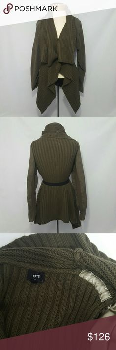 Army Green Faux Suede Arm Knitted Cardigan Great condition. Belt not included. Fate Sweaters Cardigans