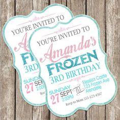 Pink and Blue Glitter Frozen Birthday  Printable Framed Invitation - DIY Kids Labels Card #2014 #Christmas #Frozen #label