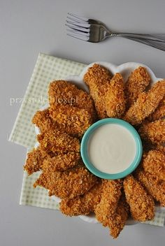 Nuggetsy pieczone w piekarniku bez tłuszczu Baby Food Recipes, Snack Recipes, Dinner Recipes, Snacks, Cooking Recipes, Healthy Recipes, Kids Meals, Food Porn, Good Food