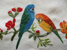 Vintage Hand Embroidered Tablecloth -