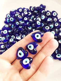 A personal favourite from my Etsy shop https://www.etsy.com/listing/469902822/10-pcs-heart-evil-eye-beads-blue-evil