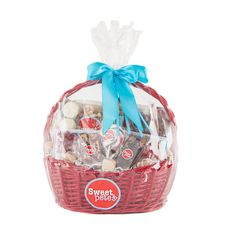Sweet Pete's Ultimate Vegan & Gluten Free Easter Gift Basket is the perfect gift for a client, family or friend with dietary concerns. Sweet Pete's uses only the highest quality ingredients to create handmade, all natural sweets.  Contains: Dark Chocolate Bars, Dark Chocolate Pretzels, Dark Sandwich Cookies, Handmade Hard Candy Lollipops, Vegan Gummies, Vegan Sea Salt Caramels, Taffy, Medium Assortment of Boxed Chocolates.