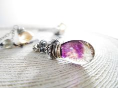 Moss Amethyst Necklace Gemstone Wire by thelittlehappygoose, $98.00