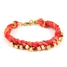 Braided Multi Coral Vintage Ribbon Bracelet with Intertwined Gold Faceted Beads