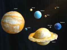 Planets of the solar system....to scale. Wet felting, using styrofoam as insides for larger planets.