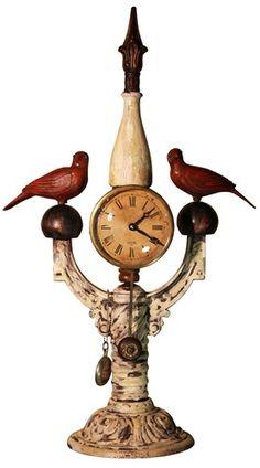 Custom Hand Carved Bird Mantle Clock