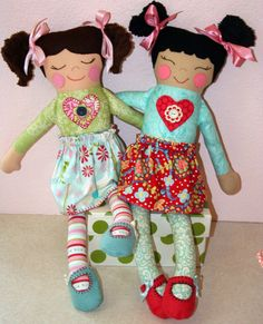 Cloth doll pattern Love Button Dolls PDF by sewithit on Etsy