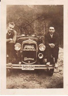 Antique Car Photograph Vintage Picture Photo Men Posing With Old Car 1932