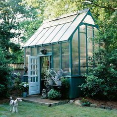 a colorful greenhouse, divine! I WOULD FRICKEN LOVE A CONSERVATORY!!!